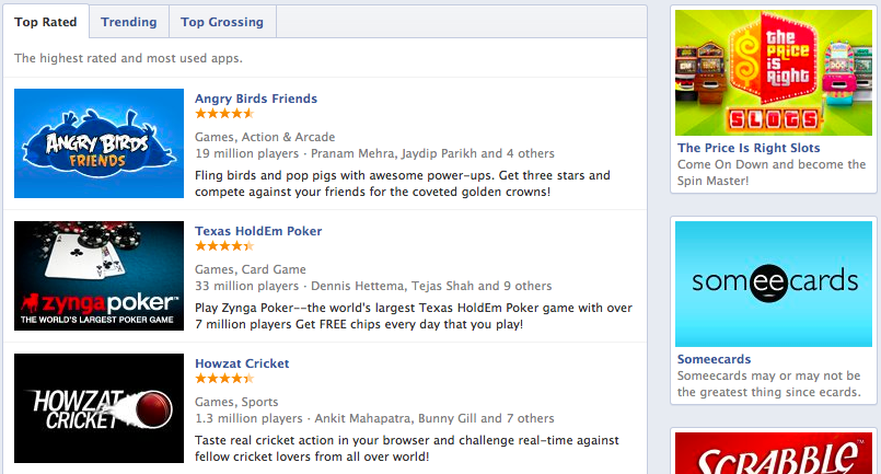 top grossing Facebook Apps list