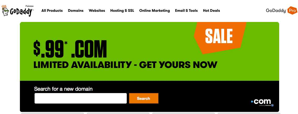 godaddy domain in just $.99